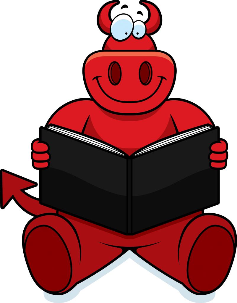 Cartoon devil reading.